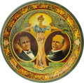 "Political:3D & Other Display (1896-present), Pair of 1900 Presidential Campaign Lithographed Trays, each 12"" diameter, by Charles W. Shonk & Co., Chicago. William Jennin... (Total: 2 )"