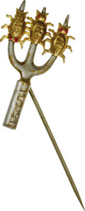 """Political:Ferrotypes / Photo Badges (pre-1896), William Jennings Bryan: A Classic 1896 Metal Stick Pin DepictingThree """"Gold Bugs"""" Impaled on a Silver-Colored Pitchfork Marke..."""