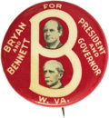 "Political:Pinback Buttons (1896-present), William Jennings Bryan: An Attractive 1¼"" 1908 West VirginiaCoat-Tail Button in Exceptional Condition. This unusual design ..."