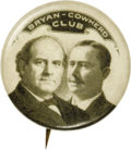 Political:Pinback Buttons (1896-present), William Jennings Bryan: A Rare Bryan-Cowherd Coat-Tail Variant. Amore familiar design for this duo is one of the fairly co...
