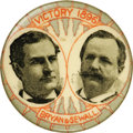 """Political:Pinback Buttons (1896-present), Bryan & Sewall: A Scarce 1½"""" Jugate Button. Found with both red and silver backgrounds, this is the silver version. """"Victory..."""