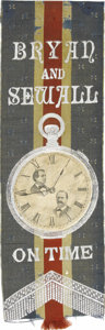 """Political:Ribbons & Badges, Bryan and Sewall: A Rare 1896 Jugate Ribbon With """"16 to 1"""" Clockface. """"16 to 1"""" was, of course, the rallying cry for Bryan's..."""