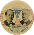 """Political:Pinback Buttons (1896-present), Bryan & Stevenson: One of the Best Jugate Designs for this Popular 1900 Duo. """"Anti-Imperialistic Club-Rock Island"""" in red le..."""