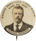 Political:Pinback Buttons (1896-present), Theodore Roosevelt: A Great TR / Advertising Button Variety. At the turn of the century, it was quite popular to issue adver...