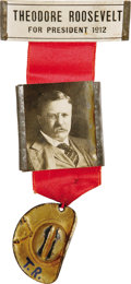 Political:Ribbons & Badges, Theodore Roosevelt: A Super Campaign Badge from his 1912 Bull Moose Candidacy. 1912-dated, with a Rough Rider hat bearing hi...