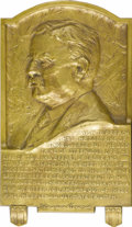 Political:3D & Other Display (1896-present), Theodore Roosevelt: An Exceptional Massive Bronze Plaque In HighRelief. Below his well-sculpted bust is his famous quote en...