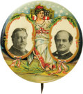 """Political:Pinback Buttons (1896-present), William Howard Taft and William Jennings Bryan: A Rare and Colorful """"Bartender's Friend"""" 1¾"""" Jugate Design. This button feat..."""
