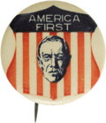 """Political:Pinback Buttons (1896-present), Woodrow Wilson: A Bold and Colorful 1¼"""" Button Design from His 1916 Campaign. The country was sharply divided over the prosp..."""