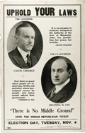 """Political:Posters & Broadsides (1896-present), Coolidge & Cox Gubernatorial Campaign Poster, """"Uphold YourLaws"""", 13.75"""" x 21.75"""". Calvin Coolidge's short term as Governor..."""