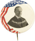 "Political:Pinback Buttons (1896-present), Calvin Coolidge: A Scarce and Colorful 1¾"" 1924 Campaign Pinback.One of the few departures from the generally drab black, g..."