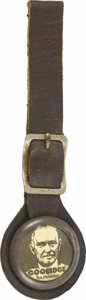 Political:Miscellaneous Political, Calvin Coolidge: A Highly Unusual 1924 Campaign Watch Fob. This distinctive item is from the legendary Larry Krug collection...