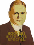 Political:3D & Other Display (1896-present), Herbert Hoover: A Highly Unusual Large Die-Cut Cardboard Display Piece, with Easel Back as Made. This remarkable piece adver...