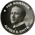 "Political:Miscellaneous Political, Al Smith: Extremely Rare 6"" Celluloid. Dating from one of Smith'sfour gubernatorial campaigns (1918-1924), this large 6"" be..."