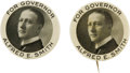 """Political:Small Miscellaneous (1896-present), Al Smith: Pocket Mirror & Pinback Rare Large Size 2 1/8"""" Smith for Governor Pair. One is a pinback which has a small rim bum... (Total: 2 )"""