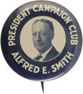 "Political:Pinback Buttons (1896-present), Al Smith: Key Portrait Button Variety. Presumably by the same makeras the larger ""Our Governor"" variety, this 1¼"" design is..."