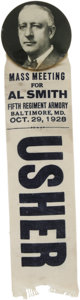 """Political:Ribbons & Badges, Al Smith: Scarce Baltimore, Maryland Meeting. A 2 1/8"""" button featuring a bold picture of Al Smith with an attached ribbon f..."""