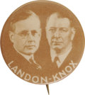 "Political:Pinback Buttons (1896-present), Alfred M. Landon: Key 1¼"" Landon & Knox Jugate Button Variety.Only a few jugate designs were made for this doomed ticket wh..."