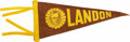 "Political:Textile Display (1896-present), Alf Landon 1936 Pennant, 11"" x 5"", brown cloth imprinted with goldink. Kansas governor Alf M. Landon's portrait is in the c..."