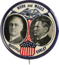 """Political:Pinback Buttons (1896-present), Roosevelt & Curley: A Dramatic Large Coat-Tail Jugate From the 1932 Campaign. This 2 1/8"""" design is considered by many to be..."""