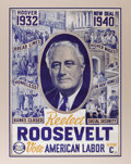 Political:Posters & Broadsides (1896-present), Franklin D. Roosevelt: One of the Most Desirable and Colorful Posters for this Four-Time Presidential Candidate. Throughout ...