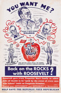 Political:Posters & Broadsides (1896-present), Franklin Roosevelt & Harry Truman: A Great Poster Attacking Both. This colorful cartoon poster, a design we have not encount...