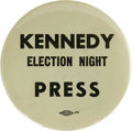 "Political:Pinback Buttons (1896-present), John F. Kennedy: One of the Most Sought-After Word Pins For ThisPopular Candidate. Only several copies are known of this ""e..."