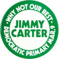 """Political:Pinback Buttons (1896-present), Key Jimmy Carter Primary Issue Pin Very rare and in excellent condition, with solid bold Carter colors. This 3"""" Carter pin w..."""