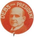 """Political:Pinback Buttons (1896-present), Debs For President 1920 7/8"""" Button Socialist candidate with bold picture. The red color is very slightly faded, otherwise i..."""