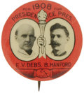 """Political:Pinback Buttons (1896-present), Debs & Hanford: 1908 1¼"""" Socialist Jugate. Choice conditionjugate in the rarer, larger size...."""