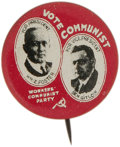 """Political:Pinback Buttons (1896-present), 1928 Vote Communist Foster & Gitlow Jugate. 7/8"""" lithograph button picturing the Communist Party candidates William Foster a..."""
