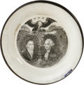 """Political:3D & Other Display (pre-1896), Antique Lafayette & Washington Porcelain Dish, 3.75"""" diameter, likely English, 19th century. A delicate small white dish dec..."""