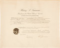 "Autographs:U.S. Presidents, Harry Truman Appointment Signed as president. One partially-printeddocument, 20"" x 16"", Washington, December 11, 1945, coun..."