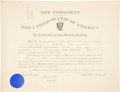 "Autographs:U.S. Presidents, Theodore Roosevelt Appointment Signed as president. One page, 21"" x16"", ""City of Washington,"" August 17, 1903, appo..."