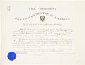 Autographs:U.S. Presidents, Theodore Roosevelt Appointment Signed as president andcountersigned by War Secretary William Taft. One partially-printedpa...