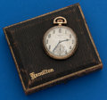 Timepieces:Pocket (post 1900), Hamilton 14k Gold, Grade 916, 12 Size With Original Box. ...