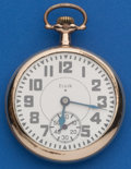 Timepieces:Pocket (post 1900), Elgin 16 Size, 21 Jewel Father Time Pocket Watch. ...