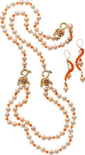 Estate Jewelry:Suites, Freshwater Cultured Pearl, Fire Opal, Sapphire, Gold Jewelry Suite,Donna Pizarro . ... (Total: 3 Items)