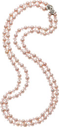 Estate Jewelry:Necklaces, Freshwater Cultured Pearl, Morganite, Diamond, Gold Necklace, DonnaPizarro. ...