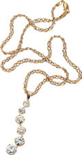 Estate Jewelry:Necklaces, Diamond, Tri-Gold Necklace. ...