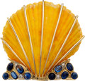 Estate Jewelry:Brooches - Pins, Fan Shell, Kyanite, Diamond, Gold Clip-Brooch. ...