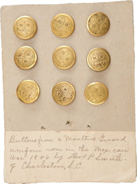 Group of Nine Non-Dug Moultrie Guards Buttons with Period ID