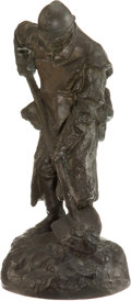 Military & Patriotic:WWI, Paul Ducuing: Sculpture of a World War I French Poilu Digging, c.1916....