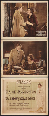 "The Shadow of Rosalie Byrnes (Selznick, 1920). Title Lobby Card and Lobby Cards (2) (11"" X 14""). Drama. ... (T..."