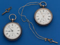 Timepieces:Pocket (pre 1900) , Two - Swiss Silver 16 Size Key Wind. ... (Total: 2 Items)