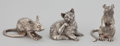 Silver Smalls:Other , A PAIR OF ENGLISH SILVER FIGURAL SALT AND PEPPER SHAKERS AND CAT .Maker unknown, England, circa 1970. Marks to mice: STER...(Total: 3 Items)