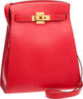 Luxury Accessories:Bags, Hermes Rouge Vif Swift Leather Kelly Sport with Gold Hardware. ...
