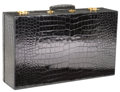Luxury Accessories:Travel/Trunks, Morabito of Paris Large Black Crocodile Suitcase with Vanity Tray& Accessories, circa 1930. ...