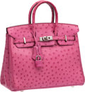 Luxury Accessories:Bags, Hermes 25cm Fuchsia Ostrich Birkin with Palladium Hardware. ...
