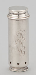Silver Smalls:Other , AN AMERICAN SILVER SPRING LOADED TUBE WITH FITTED LEATHER CASE .Reed & Barton, Taunton, Massachusetts, circa 1950. Marks: (...
