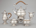 A FIVE PIECE ENGLISH TEA SERVICE Crichton Brothers, London, England, circa 1935-1936 Marks: (lion passant), (l